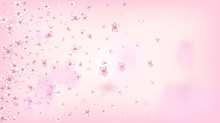 Nice Sakura Blossom Isolated Vector. Spring Falling 3d Petals Wedding Texture. Japanese Beauty Spa Flowers Wallpaper. Valentine, Mother's Day Watercolor Nice Sakura Blossom Isolated on Rose