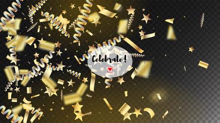 Modern Realistic Gold Tinsel Confetti, Flying Foil Blast. Horizontal Mystical Sparkles Background. Cool Elegant Christmas, New Year, Birthday Party Holiday Scatter. Realistic Gold Tinsel Confetti 向量圖像