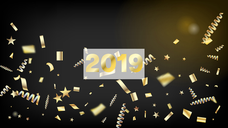 2019 Realistic Gold Tinsel Confetti, Flying Foil Blast. Cool Rich VIP Christmas, New Year, Birthday Party Holiday Frame. Horizontal Mystical Shapes Background. Realistic Gold Tinsel Confetti Vettoriali