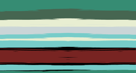Green, Turquoise Vector Watercolor Sailor Stripes Drawn Seamless Summer Pattern. Horizontal Brushstrokes Retro Vintage Grunge Textile Fashion Design. Hand Painted Ink Lines, Geometric Track Prints