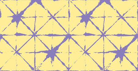 Traditional Japan Tie Dye Ornament Organic Kimono Vector Seamless Pattern. Asian Fashion Fabric Watercolour Batik Print, Wabi Sabi Ikat Geo Texture. Hand Painted Shibori Geometric Seamless Design