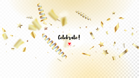 Modern Gold Confetti, Falling Stars, Streamers, Tinsel. Horizontal Shiny Particles Background. Cool Platinum Christmas, New Year, Birthday Party Holiday Frame. Gold Confetti, Falling Down Stars.