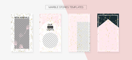 Stories Template Cool Vector Layout. Social Media  Covers Set. Invitation Mobile Design Pack. Modern App Kit, Pink White Gold Abstract Geometric Marble Patterns. Stories Template VIP Layout
