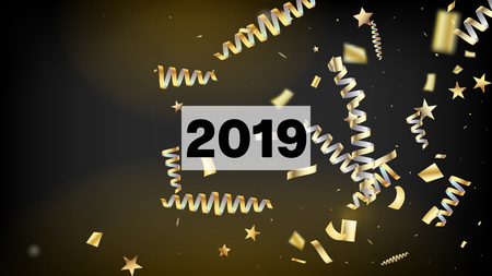 2019 New Year Confetti Realistic Falling Golden Tinsel. Horizontal Fairy Explosion Background. Cool Sparkling Christmas, New Year, Birthday Party Holiday Pattern. New Year Confetti Golden Tinsel