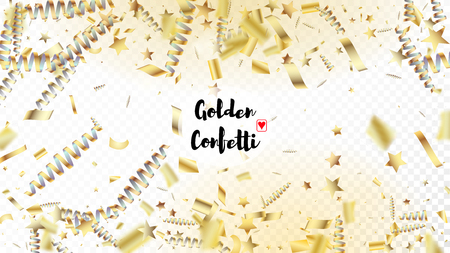 Modern New Year Confetti Realistic Falling Golden Tinsel.  Horizontal Mystical Shapes Background. Cool Premium Christmas, New Year, Birthday Party Holiday Frame. New Year Confetti Golden Tinsel