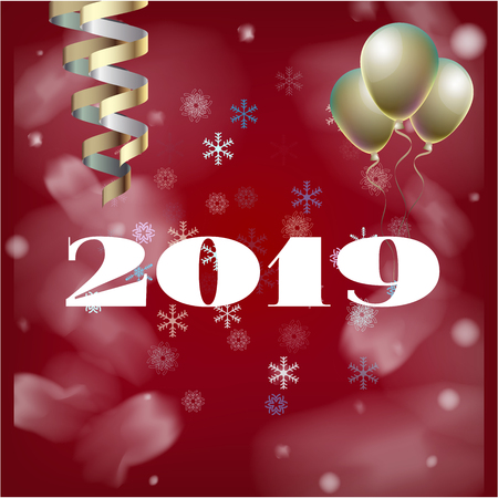 2019 New Year, Christmas Vector Card on Red with Snow. Snowflakes Sparkle Gold Abstract Square Flyer Minimal Celebration Frame. Party Streamers Decoration. Cool 2019 New Year Christmas Card on Red