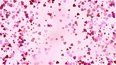 Red, Pink Hearts Vector Confetti. Valentines Day Romantic Pattern. Beautiful Pink Frame Valentines Day Decoration with Falling Down Hearts Confetti. Luxury Gift, Birthday Card, Poster Background