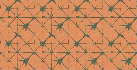 Artistic Tie Dye Geisha Ornament, Japanese Kimono Vector Seamless Pattern. Wabi Sabi Ikat Geo Texture, Asian Kimono Fashion Watercolor Batik Design. Hand Painted Shibori Geometric Seamless Design