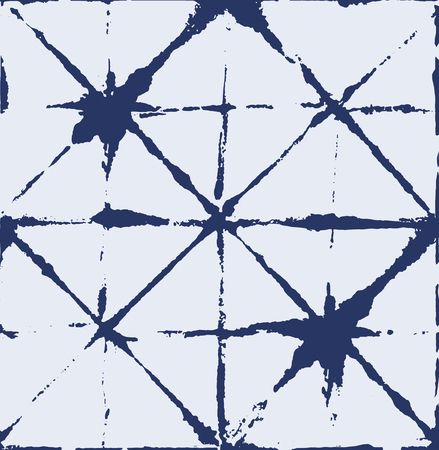Japanese Kimono Vector Seamless Pattern, Artistic Tie Dye Geisha Ornament. Wabi Sabi Ikat Geo Texture, Asian Kimono Fabric Watercolor Batik Design. Creative Shibori Geometric Seamless Summer Pattern