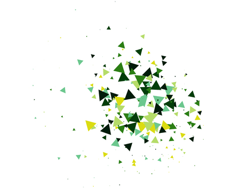 Cool Explosion, Broken Glass, Vector Moving Grunge Blast. Dirty Shatter Concept, Falling Triangle Fragments. Futuristic Green Shatter Particles Isolated. Mud, Burst, Boom, Bang Textured Background.