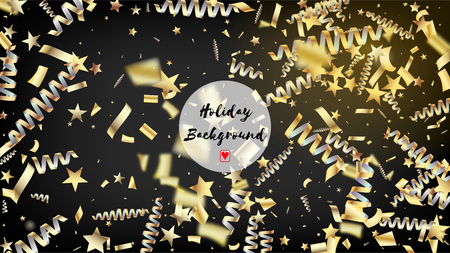 Modern Gold Confetti, Falling Stars, Streamers, Tinsel. Horizontal Stars Streamers Background. Cool Luxury Christmas, New Year, Birthday Party Holiday Scatter. Gold Confetti, Falling Down Stars.