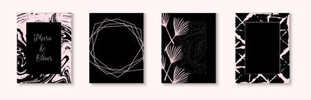 Wedding Invitation Card Vector Set on Black. Minimal Textured Cover, Brochure, Menu, Certificate, Border, Gift Design. Elegant Business Cover Simple Collection. Wedding Invitation Card Template