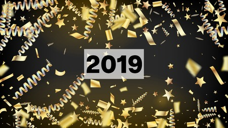 2019 Magic Glitter Confetti, Golden Foil Tinsel Trail. Horizontal Shiny Sparkles Background. Cool Luxury Christmas, New Year, Birthday Party Holiday Border. Magic Glitter Confetti Tinsel 向量圖像