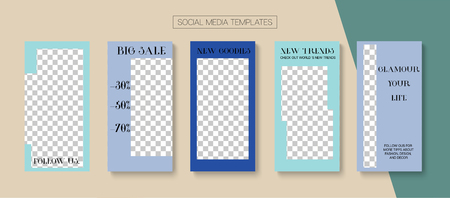 Editable Stories Trendy Vector Layout.  Social Media Illustration Website Template. Noble Social Media Like and Share, Trends, New Arrivals Photo Frames Set. Sale Insta Stories Layout