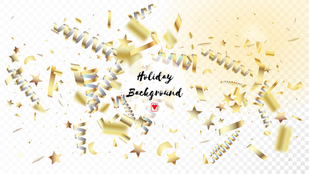 Modern Fireworks Glitter Confetti Card Background. Horizontal Fairy Shapes Background. Cool Luxury Christmas, New Year, Birthday Party Holiday Scatter. Gold Fireworks Glitter Confetti