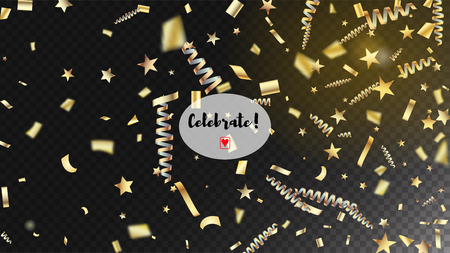 Modern Christmas Confetti Isolated Invitation Layout. Horizontal Lights Glitter Background. Cool Premium Christmas, New Year, Birthday Party Holiday Frame. Christmas Confetti Isolated