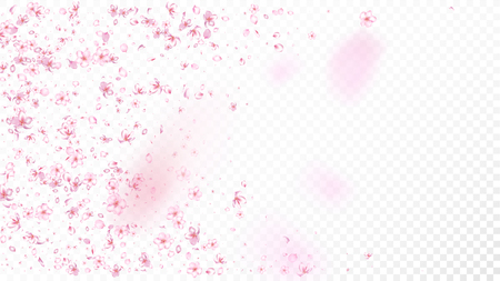 Nice Sakura Blossom Isolated Vector. Feminine Showering 3d Petals Wedding Pattern. Japanese Gradient Flowers Wallpaper. Valentine, Mother's Day Tender Nice Sakura Blossom Isolated on White Illusztráció