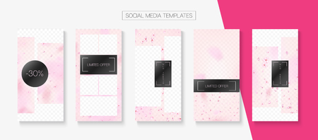 Spa, Natural Cosmetics Stories Sale Vector Layout. Stories Social Media Templates. Special Offer New Arrivals, Discount Covers Set. Pink Cherry Blossom Flying Confetti. Spa, Natural Cosmetics Sale