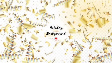 Modern Gold Confetti, Falling Stars, Streamers, Tinsel. Cool Premium Christmas, New Year, Birthday Party Holiday Garland. Horizontal Shiny Sparkles Background. Gold Confetti, Falling Down Stars.