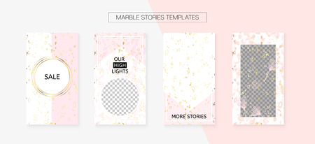 Stories Template Cool Vector Layout. Trendy App Kit, Pink White Gold Elegant Geometric Marble Patterns. Social Media Cards Set. Graphic Advert Design Pack. Stories Template VIP Layout