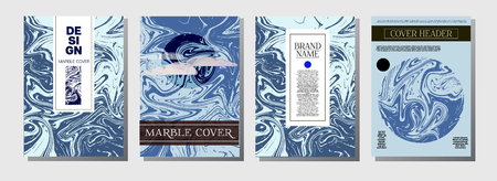 Hawaii Purple Blue Marble Ink Texture Cover Set. A4 Vector Liquid Paint Fashion Magazine Design. Ebru Ink Wash Hipster VIP Package Background. Abstract Corporate Identity Marble Ink Texture Cover.
