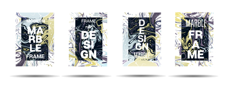 Marble Texture Dynamic Frame Vector Design. Suminagashi Liquid Paint Technical Ad, Music Poster, Motivational Card, Cover Background. Gradient Overlay Border, Abstract Vector Marble Texture Design Vettoriali
