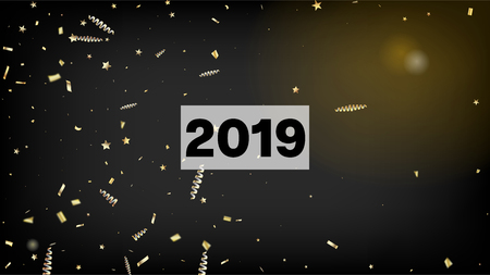 2019 Gold Explosion, Stars, Streamers, Tinsel Burst. Horizontal Mystical Stardust Background. Cool Sparkling Christmas, New Year, Birthday Party Holiday Border. Gold Explosion, Streamers Burst.