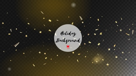 Modern Fireworks Glitter Confetti Card Background. Horizontal Fairy Streamers Background. Cool Sparkling Christmas, New Year, Birthday Party Holiday Texture. Gold Fireworks Glitter Confetti Vettoriali