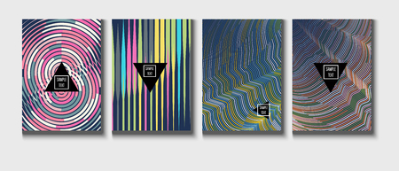 Funky Covers Set. A4 Vector Business Folders Templates. Halftone Geometric Modern Business Covers Set. Neon Bright Glam and Glitch Party Poster Background. Futuristic Branding, Modern Tech Design.