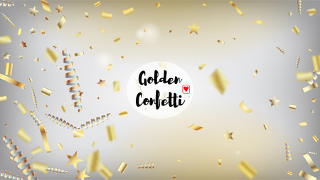 Modern New Year Confetti Realistic Falling Golden Tinsel.  Cool Sparkling Christmas, New Year, Birthday Party Holiday Texture. Horizontal Fairy Stardust Background. New Year Confetti Golden Tinsel