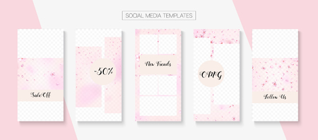 Mothers Day Spring Sale Vector Stories Layout. Rose Cherry Flowers Flying Confetti. Social Media Stories Templates. Special Offer New Arrivals, Discount Covers Set. Mothers Day Big Spring Sale