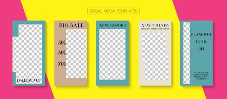 Editable Stories Simple Vector Layout. Blogger Social Media Comments Website Template. Advert Social Media Sale -50, Fashion, Follow Us Photo Frames Set. Cool Insta Stories Layout Ilustração