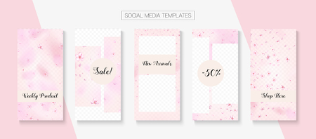 Mothers Day Spring Sale Vector Stories Layout. Pink Cherry Petals Flying Confetti. Special Offer New Arrivals, Discount Covers Set. Social Media Stories Templates. Mothers Day Big Spring Sale  イラスト・ベクター素材