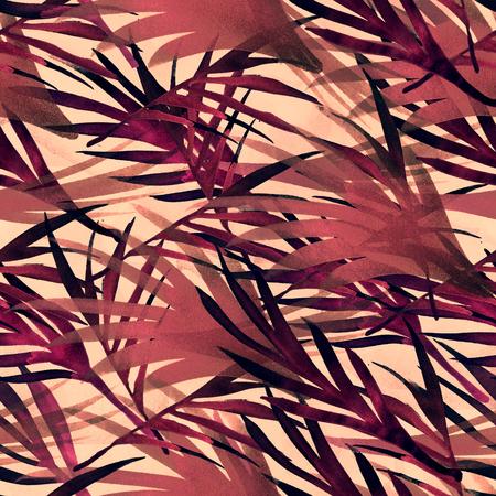 Tropical Seamless Summer Pattern Leaves. Watercolor Bohemian Botanical Background Fluid Jungle Palm Leaves Texture. Trendy Fashion Fabric Textile Design. Retro Floral Tropical Seamless Summer Pattern. Standard-Bild - 117680599