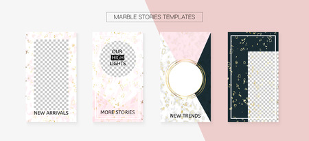 Stories Template Cool Vector Layout. Social Media  Design Set. Textured Phone Design Pack. Minimal App Kit, Pink White Gold Fashion Geometric Marble Patterns. Stories Template VIP Layout