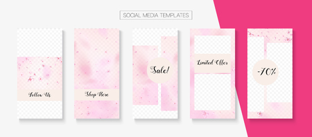 Spa, Natural Cosmetics Stories Sale Vector Layout. Rose Sakura Blossom Flying Confetti. Social Media Stories Templates. Limited Offer New Arrivals, Discount Border Set. Spa, Natural Cosmetics Sale
