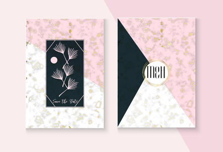 Luxury Marble Wedding Invitation Vector Set. Noble Soft Faded Nice Marbling Texture, Pink, Grey, White Invitation Card. RSVP, Thank You Card, Funky Concept or Poster. Luxury Marble Wedding Kit