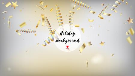 Modern Fireworks Glitter Confetti Card Background. Horizontal Mystical Sparkles Background. Cool Elegant Christmas, New Year, Birthday Party Holiday Border. Gold Fireworks Glitter Confetti