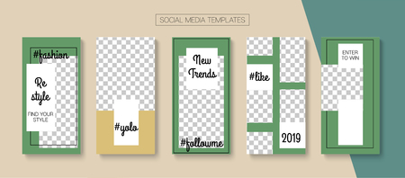 Editable Stories Graphic Vector Layout. Blogger Social Media Geometric SMM App Template. Advert Social Media Winners, Sale -50, New Goodies Photo Frames Kit. Nice Insta Stories Layout Ilustração