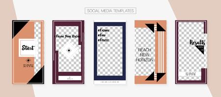 Social Media Stories SMM Template. Graphic Brand Design Pack. Trendy App Kit, Brown Grey Transparent Elegant Geometric Cover Patterns. Blogger Concept Vector Set. Social Media Stories Simple Set