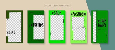 Editable Stories Abstract Vector Layout. Blogger Social Media Geometric Mobile Template. Advert Social Media Sale -50, Winners, New Goodies Photo Frames Pack. Cool Stories Layout