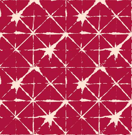 Japanese Kimono Vector Seamless Pattern, Funky Tie Dye Geisha Ornament. Wabi Sabi Ikat Geo Texture, Asian Kimono Textile Watercolour Batik Prints. Textured Shibori Geometric Seamless Summer Pattern
