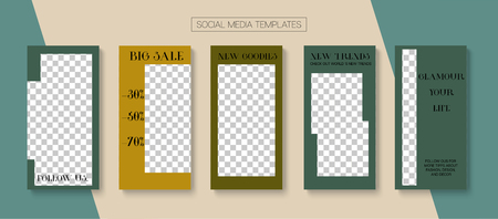 Editable Stories Minimal Vector Layout. Blogger Social Media Advertising Phone Template. Noble Social Media Fashion, New Goodies, Shop Now Photo Frames Set. Sale Insta Stories Layout Illustration