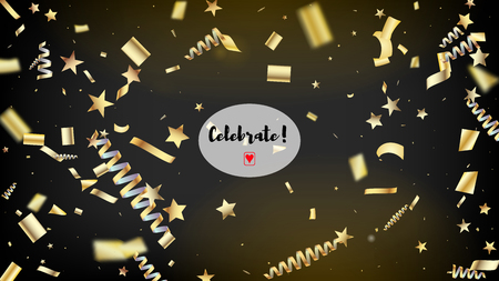 Modern Gold Confetti, Falling Stars, Streamers, Tinsel. Cool Elegant Christmas, New Year, Birthday Party Holiday Pattern. Horizontal Bright Glitter Background. Gold Confetti, Falling Down Stars.  イラスト・ベクター素材