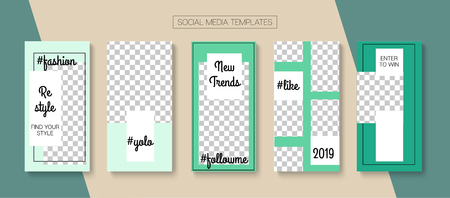Editable Stories Trendy Vector Layout. Noble Social Media Fashion, Trends, Like and Share Photo Frames Pack. Blogger Social Media Geometric Website Template. Cool Insta Stories Layout