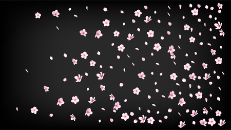 Nice Sakura Blossom Isolated Vector. Spring Blowing 3d Petals Wedding Pattern. Japanese Beauty Spa Flowers Illustration. Valentine, Mothers Day Pastel Nice Sakura Blossom Isolated on Black