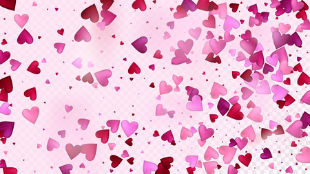 Falling Hearts Vector Confetti. Valentines Day Wedding Pattern. Modern Gift, Birthday Card, Poster Background Valentines Day Decoration with Falling Down Hearts Confetti. Beautiful Pink Border Illustration