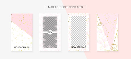 Stories Template Cool Vector Layout. Social Media  Cards Set. Invitation Mobile Design Pack. Trendy App Kit, Pink White Gold Fashion Geometric Marble Patterns. Stories Template VIP Layout Ilustração