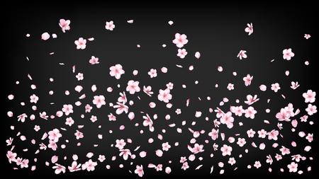 Bel Sakura Blossom vettore isolato. Design di nozze di petali 3d per la doccia femminile. Illustrazione di fiori funky giapponesi. San Valentino, festa della mamma Realistico bel fiore di Sakura isolato su nero