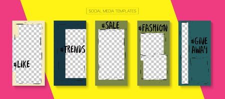Editable Stories Abstract Vector Layout. Blogger Social Media Illustration Website Template. Advert Social Media Winners, New Arrivals, Shop Now Photo Frames Set. Sale Insta Stories Layout Illustration